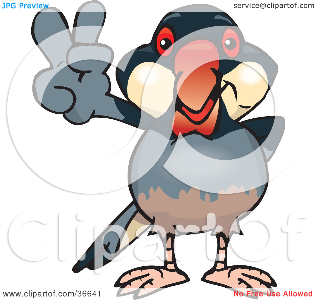 Clipart Illustration of a Peaceful Java Finch Bird Smiling And.