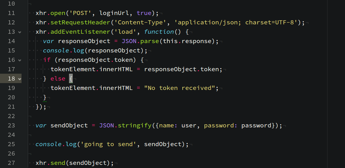 Example: JSON Web Tokens with Vanilla JavaScript.