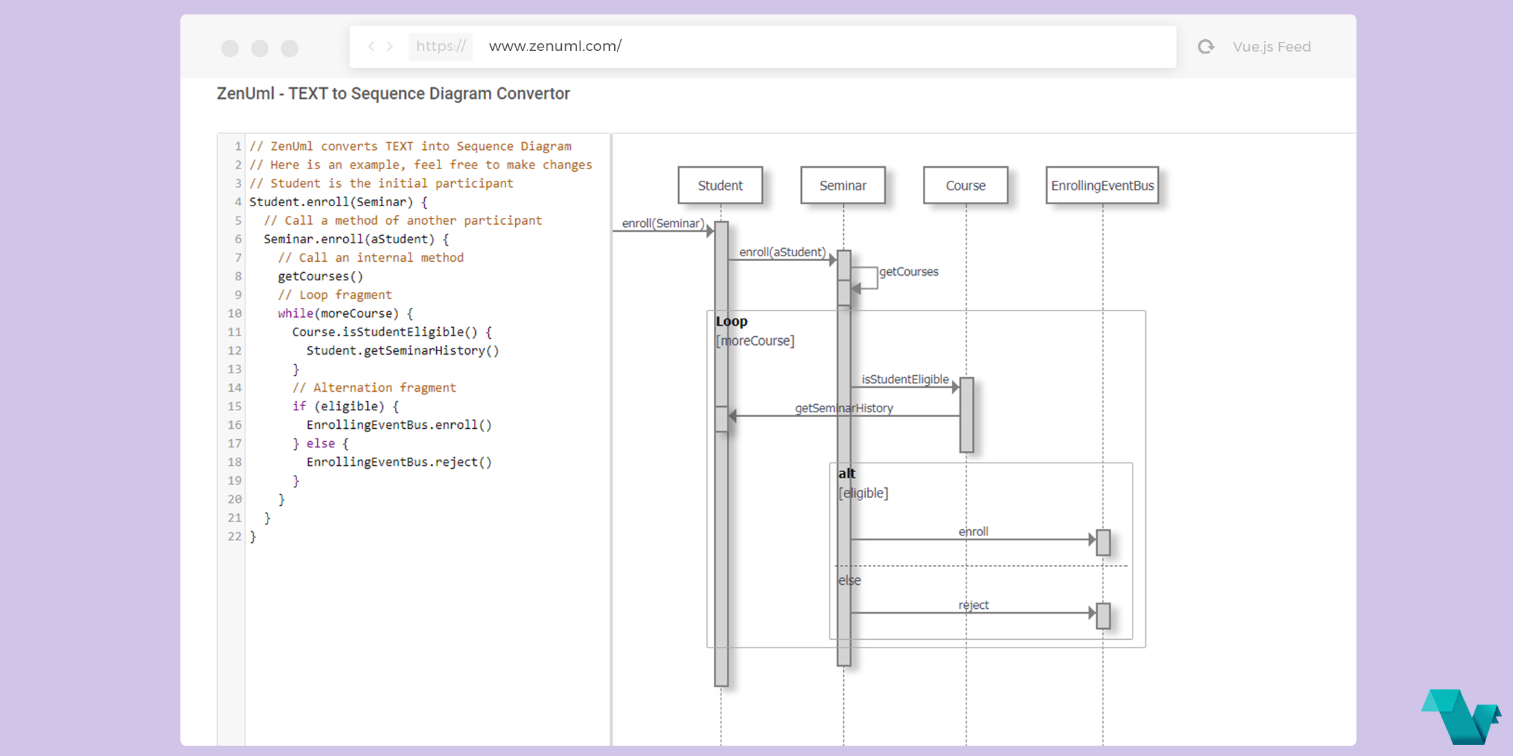 ZenUml: Text to Sequence Diagram Converter, powered by Vue.js.