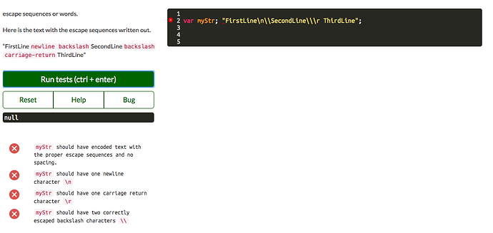 Escape Sequence Javascript.