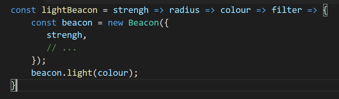 Currying in Javascript — arrow function sequence.