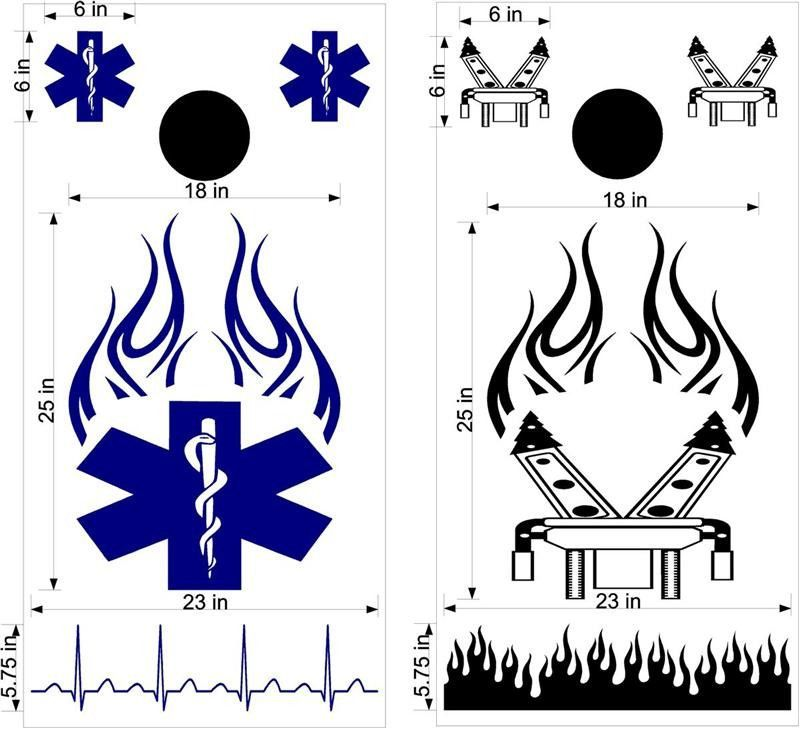 Cornhole Boards Decals Jaws Of Life EMS EMT Fireman.