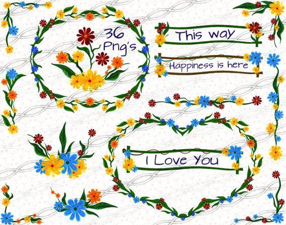 Instant download png digital delivery Flower frame clipart laurel.