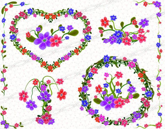 Instant download png Flower frame clipart laurel wreath bouquet.
