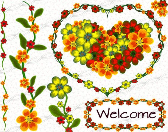 Digital scrapbooking floral clipart frames and borders graphic.