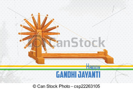 Vector Clipart of Spinning wheel on India background for Gandhi.