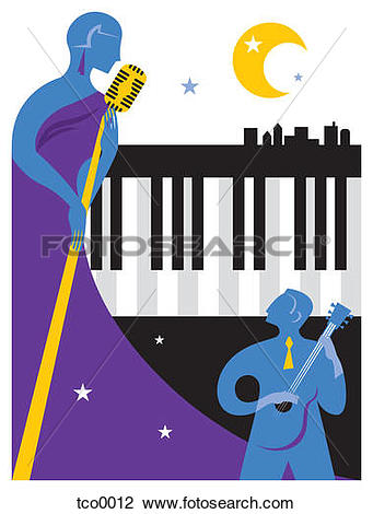 Clip Art of A singer and musician performing at a jazz festival.