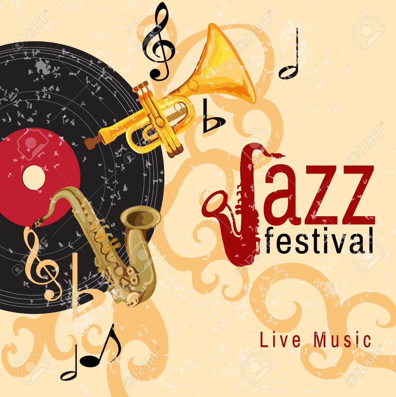 Jazz Retro Music Festival Concert Live Horn Performance Poster.