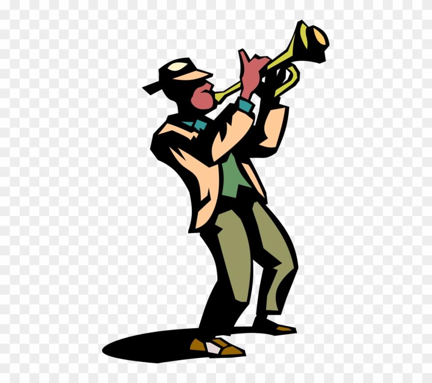 Vector Illustration Of Jazz Musician Plays Trumpet.