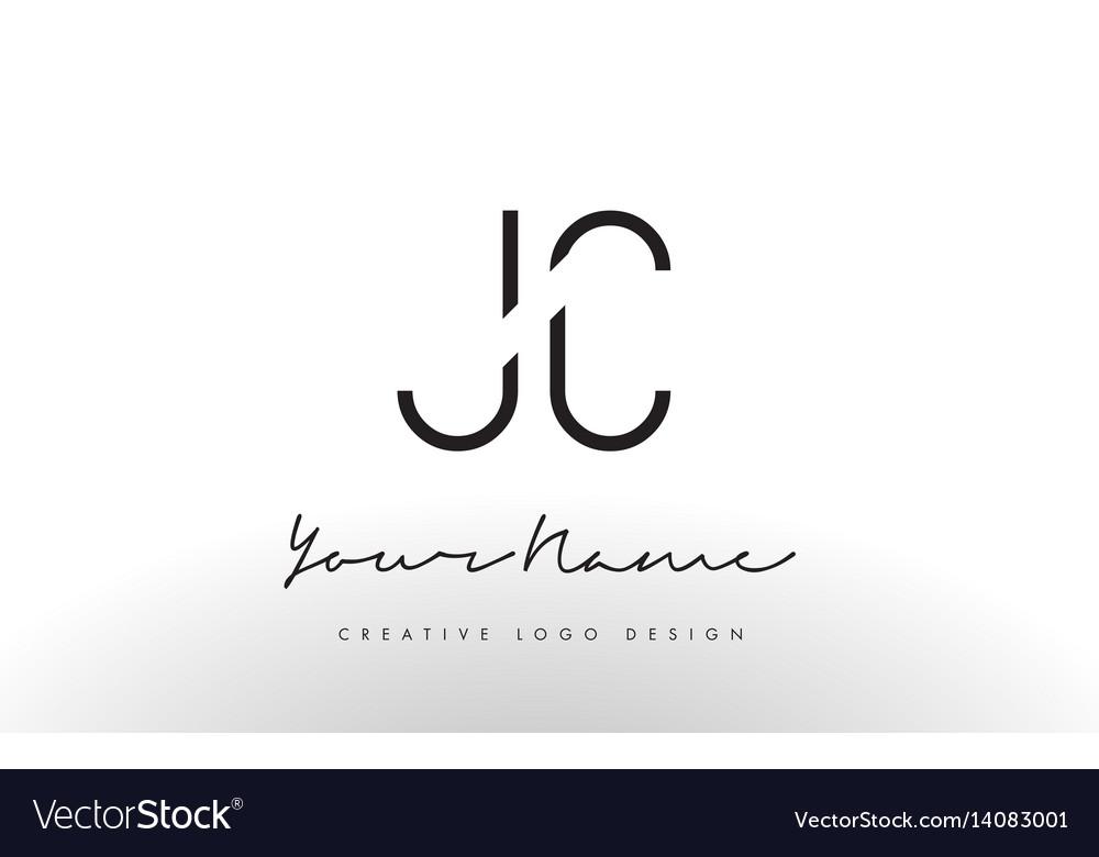Jc letters logo design slim creative simple black.