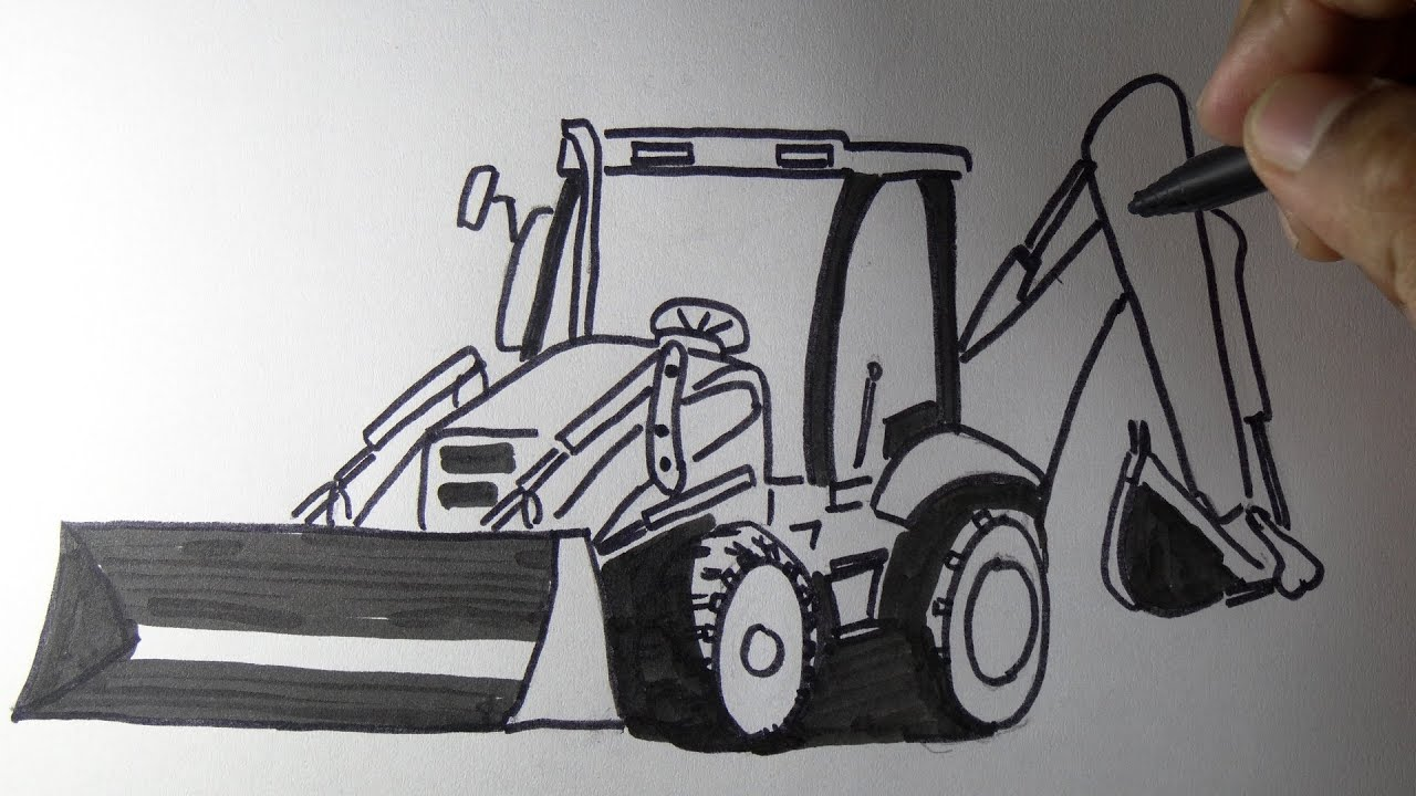 How to draw a JCB backhoe loader machine Drawing..