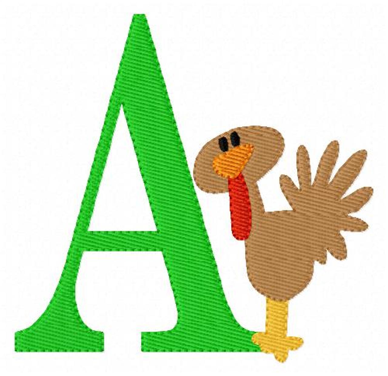 Thanksgiving Turkey Monogram Embroidery Font Design Set.