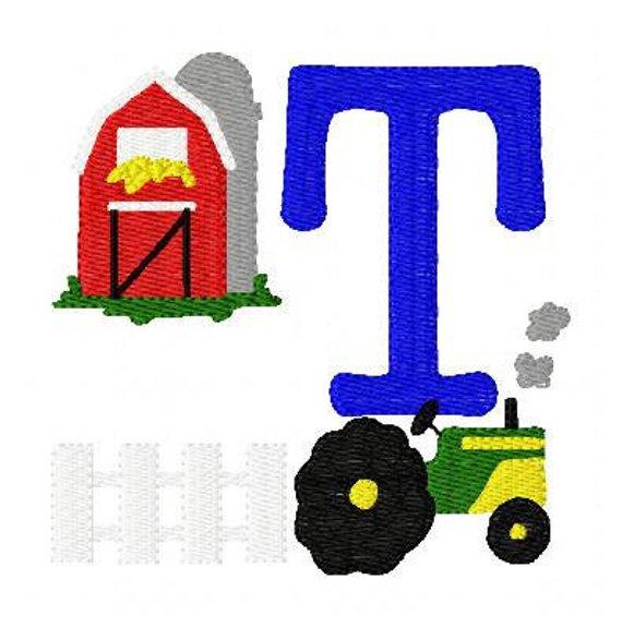 Farm Machine Embroidery Monogram Font Design Set, Machine.