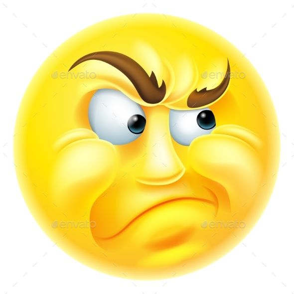 Angry or jealous looking emoticon emoji character.