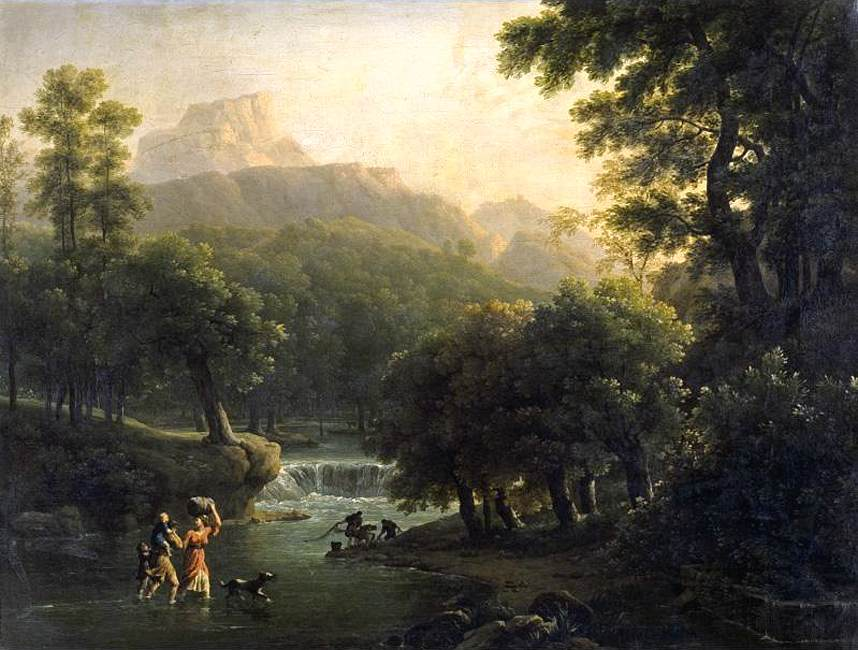 Landscape with Figures Crossing a River by BIDAULD, Jean.