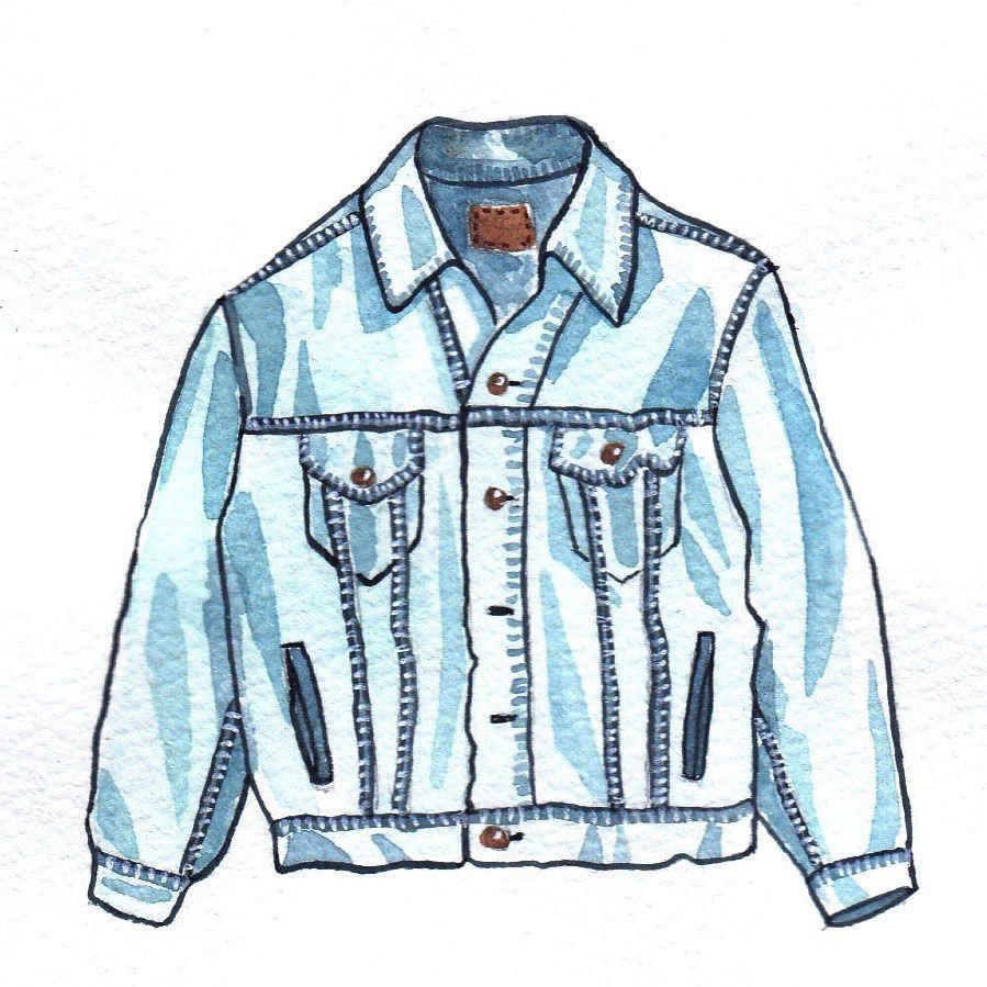 vintage denim jeans jacket mochni drawing.