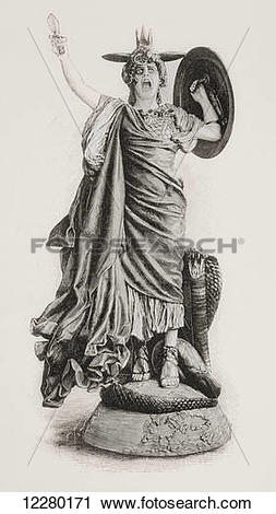 Stock Photography of Bellona. Ancient Roman goddess of war, after.