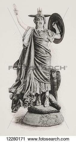 Stock Photography of Bellona. Ancient Roman goddess of war, after.