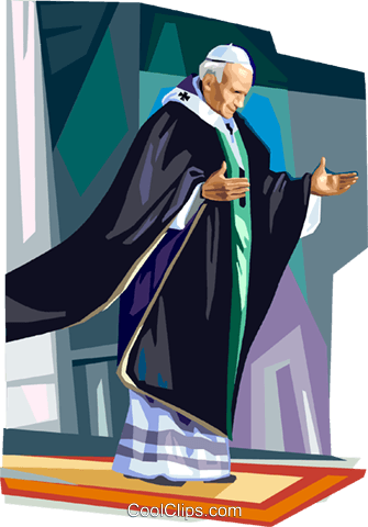 Pope John Paul II Royalty Free Vector Clip Art illustration.