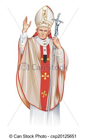 Stock Illustrations of Pope Saint John Paul II Illustration.
