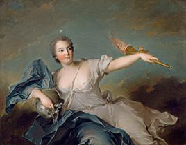 Le portrait de la marquise de Pompadour à la loupe.