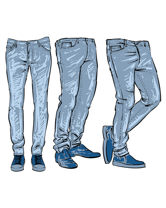 Hand drawn fashion design men\'s jeans. clipart commercial.