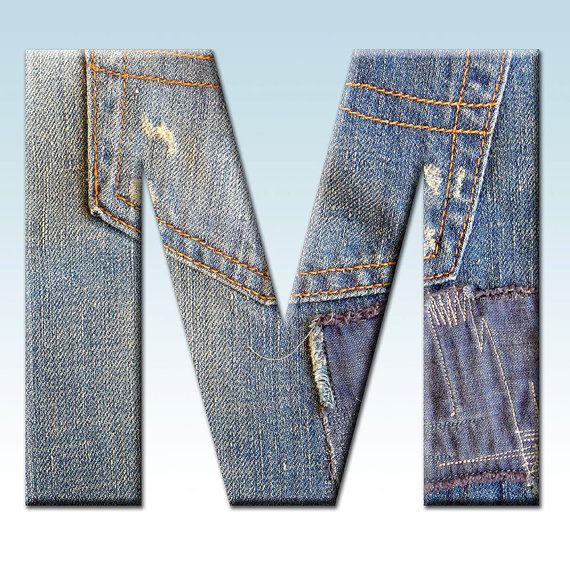 Denim Digital Alphabet, Jeans Alphabet Clipart, Printable.