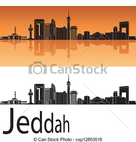 Vector Clip Art of Jeddah skyline in orange background in editable.