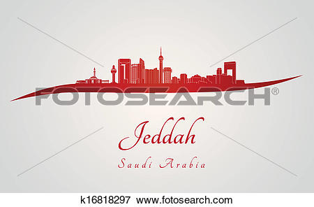 Clip Art of Jeddah skyline in red k16818297.