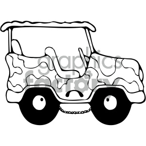 black and white jeep clipart. Royalty.