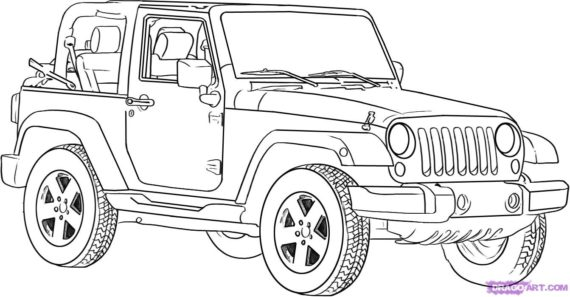 Jeep black and white clipart 5 » Clipart Station.