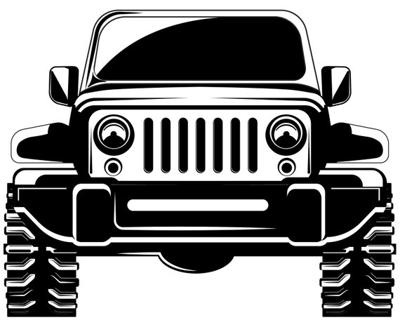 Interesting Jeep Wrangler Clipart Cute 4x4 Front View Off Road Etsy.