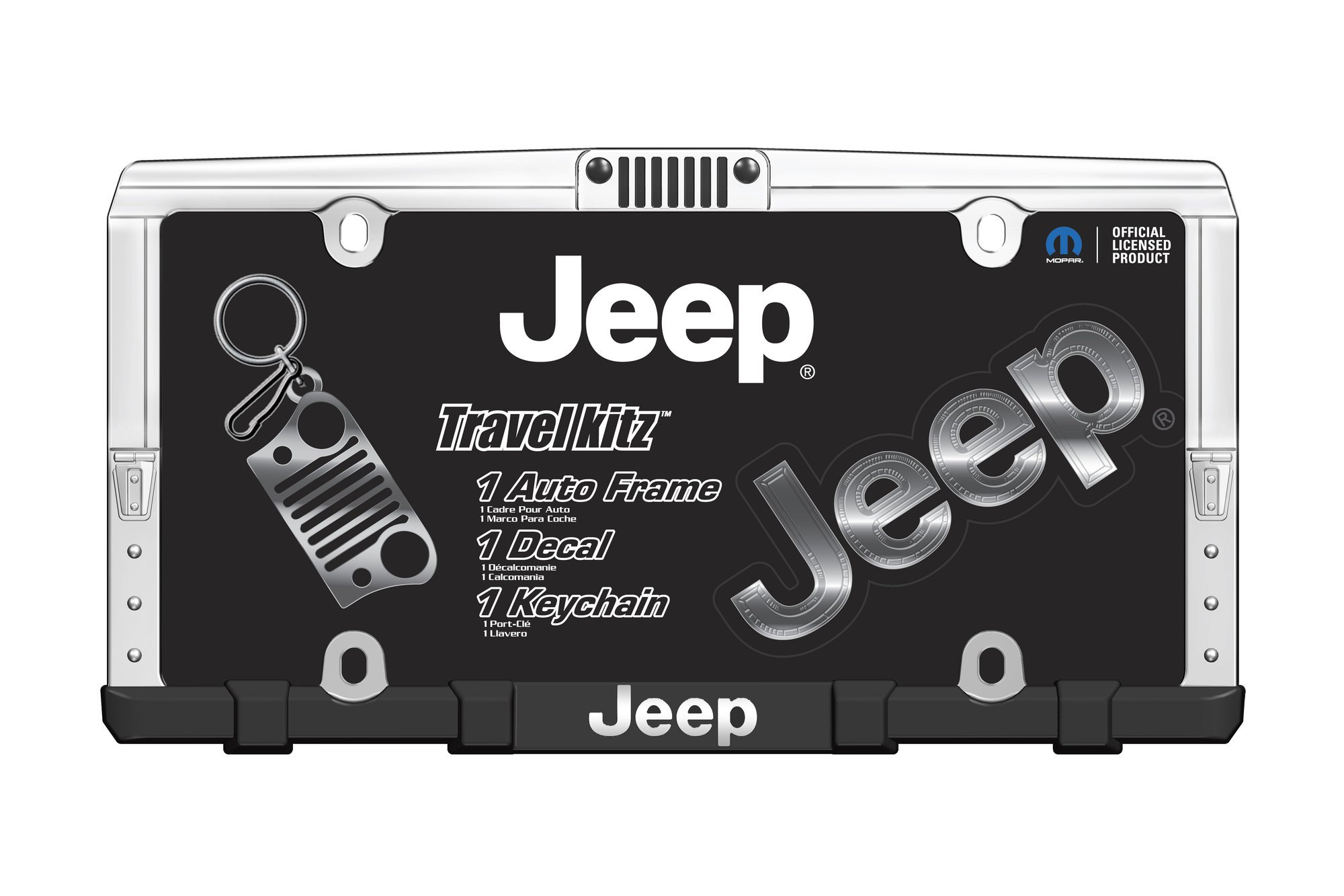 Chroma Graphics 58001 Jeep Travel Kit with License Plate Frame, Key Chain,  & Logo Decal.