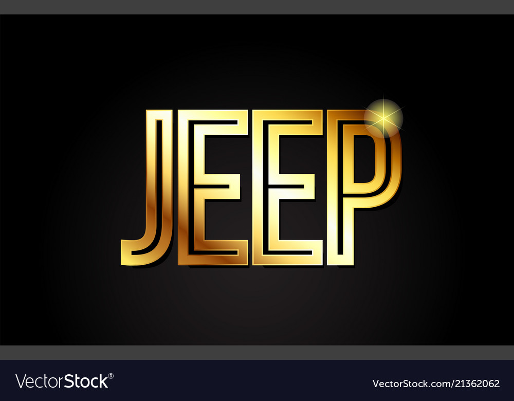 Jeep word text typography gold golden design logo.