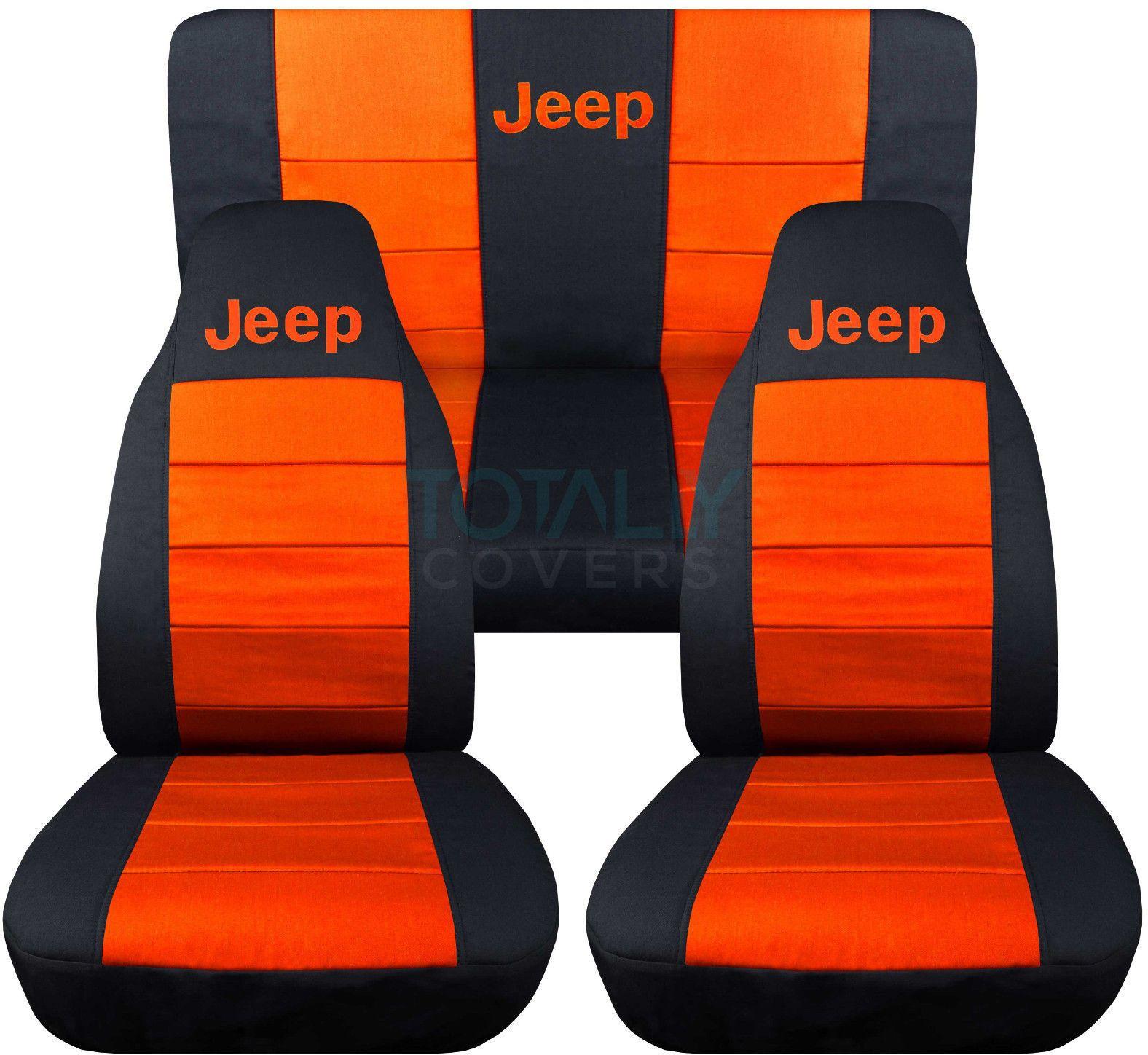 Jeep Wrangler Black and Orange Jeep Logo Seat Covers.