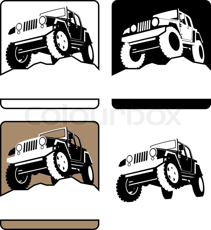 White Lifted Jeep >> Jeep on a rock clipart - Clipground