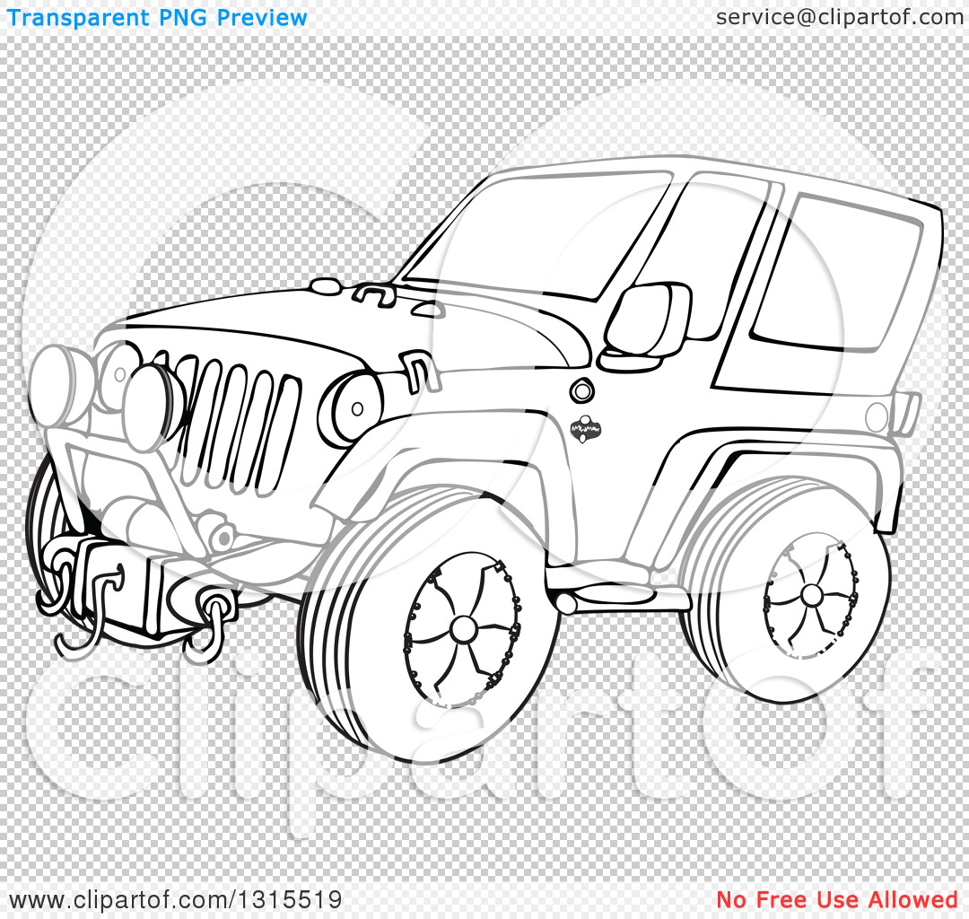 Outline Clipart of a Cartoon Black and White Jeep Wrangler SUV on.