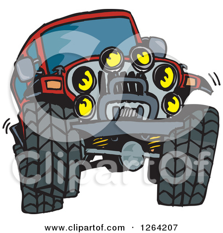 Clipart of a Cartoon Red Jeep Wrangler SUV on Rocks.