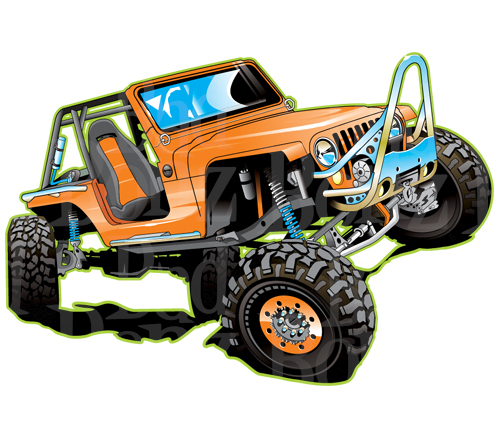 Jeep On A Rock Clipart