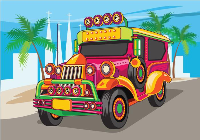 Philippine Jeep vector Illustration or Jeepney.