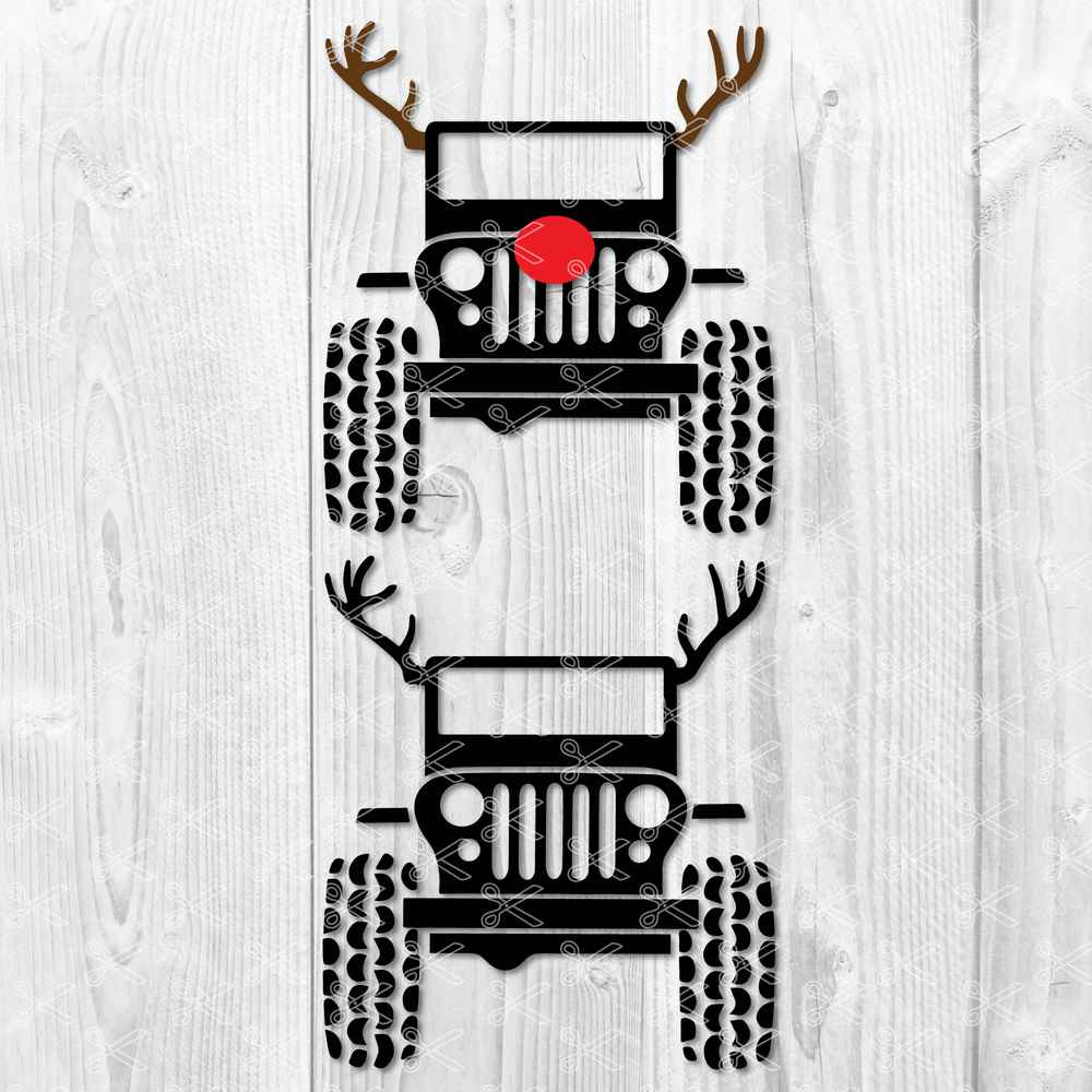 Jeep Wrangler Wild Deer SVG DXF PNG Cut Files.