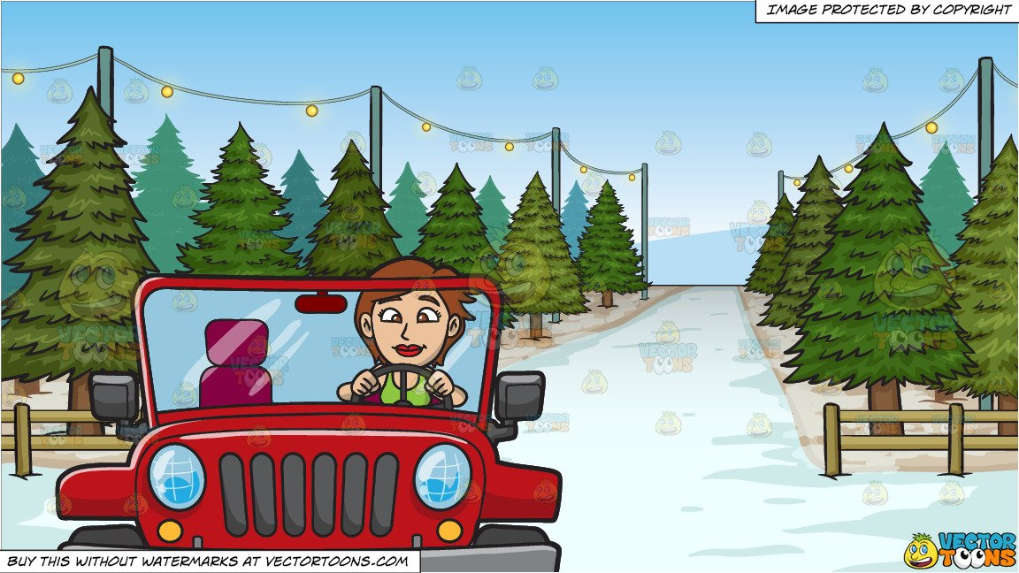 A Woman Driving A Rugged Red Jeep and Christmas Tree Lot Background.