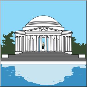 Clip Art: Jefferson Memorial Color I abcteach.com.