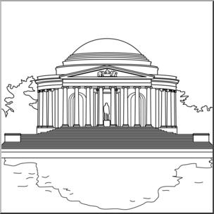 Clip Art: Jefferson Memorial B&W I abcteach.com.