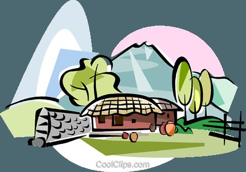 Korea Choga house in Jeju island Royalty Free Vector Clip Art.