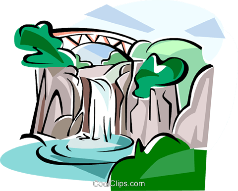 Korea Water fall in Jeju island Royalty Free Vector Clip Art.