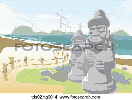 Drawings of Drawing of a Korea Jeju island stone statue.