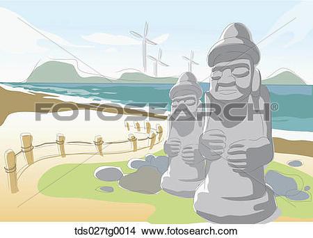 Drawings of Drawing of a Korea Jeju island stone statue.