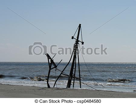 Stock Photography of Shipwreck on Jekyll Island, GA csp0484580.