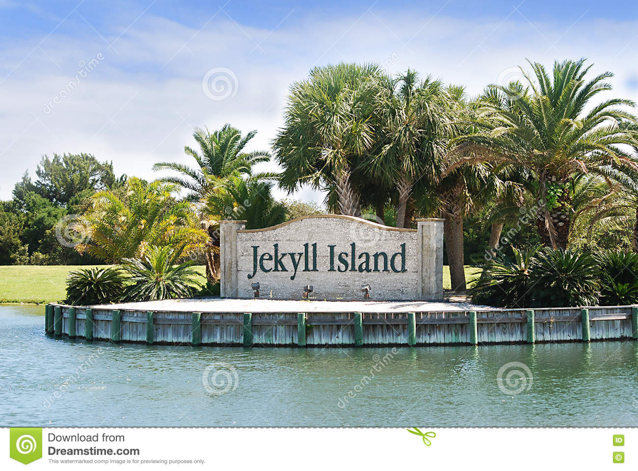 The Landmark Entrance Sign To Jekyll Island, Georgia. Stock Photo.